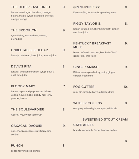 The Bacon Brothers cocktail menu...see what we're talkin' about?